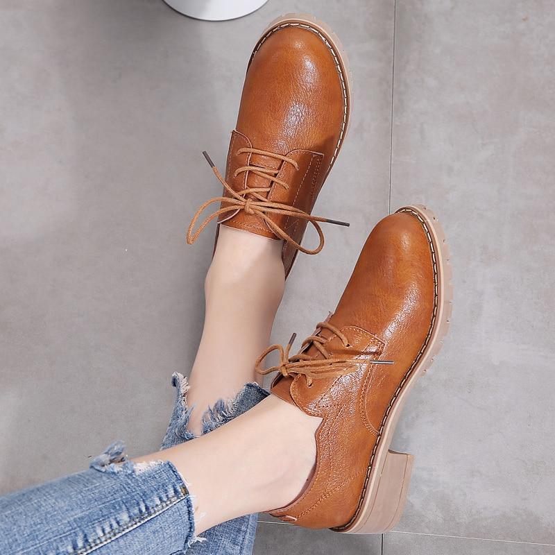 Image 3 - STQ/женские туфли оксфорды на плоской подошве; женские лоферы из натуральной кожи; женские кроссовки на шнуровке; женская зимняя обувь; LSJ1208Обувь без каблука   -