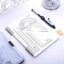 Compass and ruler set 7 sets of students' drawing geometry triangle protractor ruler stationery 10pcs plastic metal protractor set geometry drawing eraser eraser ruler compasses math set for school students high quality
