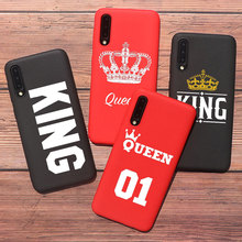Quotes king Queen 01 Red black Couple phone Case For Samsung A50 A70 S10 plus S20 plus S9 Plus S8 Plus Soft TPU Silicone Cover