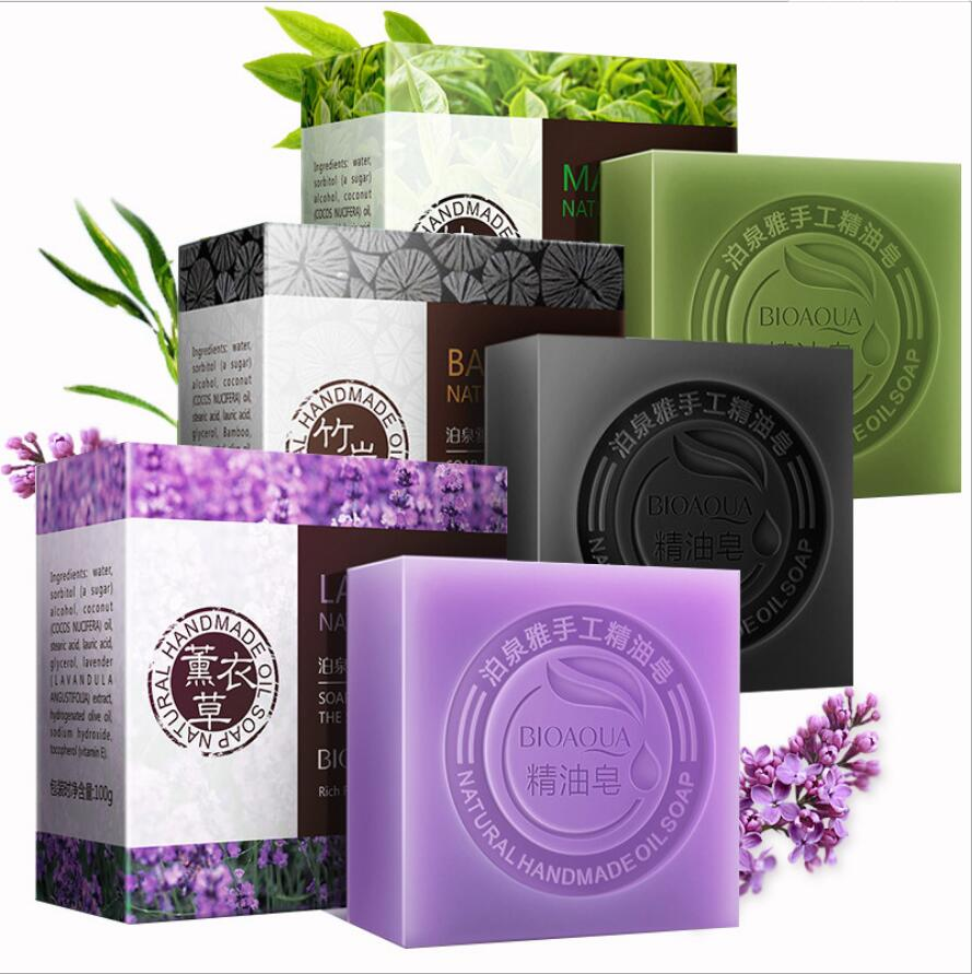 100G Natural Organic Herbal Essential Oil Soap Whitening Handmade Soap Skin Remove Acne Deep Cleansing Face Hair Care Bath