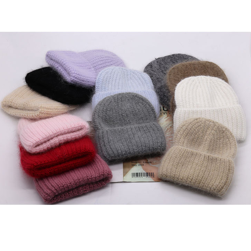 VISROVER 12 Colors  New Autumn Winter Hat Unisex Soft Rabbit Fur Beanies New Cashmere Woman Warm Knitted Bonnet Wholesales