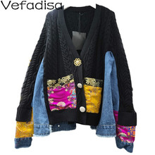 Knitted Jacket Vefadisa Coat Patchwork Cardigan Sweater Women V-Neck Chinese-Style Autumn Winter