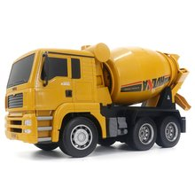 HUINA 1333 1:18 6CH Die-Cast Alloy Remote Control Mixer Engineering Truck Toys Static Model Caterpillar Wheel Kids RC Truck Gift rc truck 2 4g radio control construction rc cement mixer fire truck rc garbage truck rc crane truck for kids gift toys