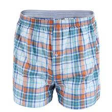 Men cotton arrow boxers casual elastic waist checkered underwear summer loose br