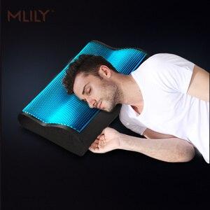 Image 4 - Mlily espuma de memória travesseiro gelo gel de refrigeração ortopédico pescoço cervical travesseiro aircell tecnologia manchester united