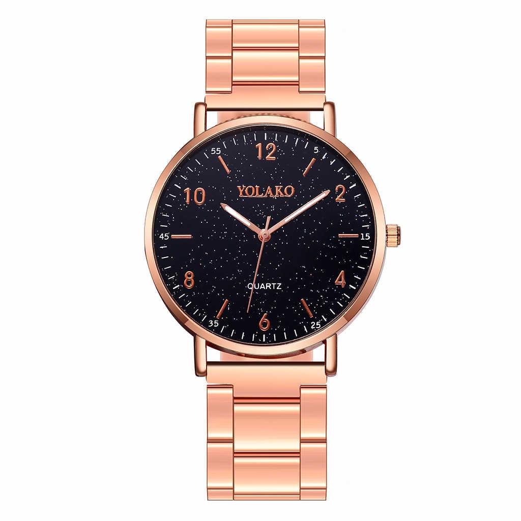 YOLAKO бренд для женщин розовое золото нержавеющая сталь арабский набор номера часы Роскошные ЖЕНСКИЕ НАРЯДНЫЕ часы кварцевые часы