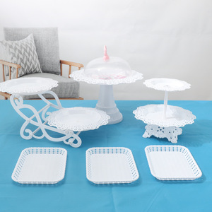 3 Tier Cake Stand Afternoon Tea Wedding Plates Party Tableware Bakeware Plastic Tray Dessert Display Rack Cake Decorating Tools