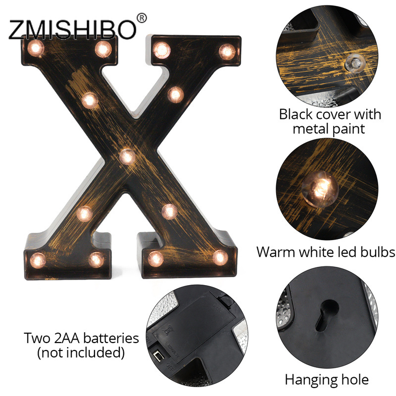 ZMISHIBO A-Z & LED Letter Industrial Style Night Lights Holiday Bar Cafe Shop Decor Home Lighting 3D Alphabet Wall Night Lamp