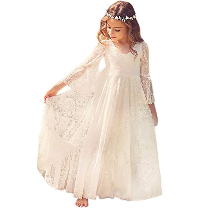 Ivory Lace Flower Girl Dress Kids Wedding Party Pageant First Communion Gown Long Sleeve Tulle robe fille mariage