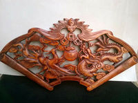Chinese Hand carved Dragon And Phoenix Sculpture With Camphor Board Wall Sculpture Animal Statue
