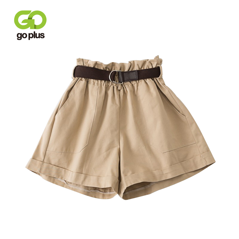 GOPLUS Summer Shorts Women Vintage Casual High Waist Ruffles Belt Solid Loose Leg Shorts White Women Pantalones Cortos Mujer
