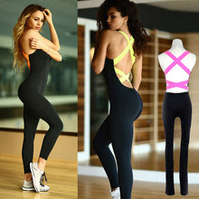 Women Sportwear Fashion Bandage Stretch Jumpsuit Women's Tracksuit Gym Clothing Sports Wear For Women Gym Sportswear For Women(China)
