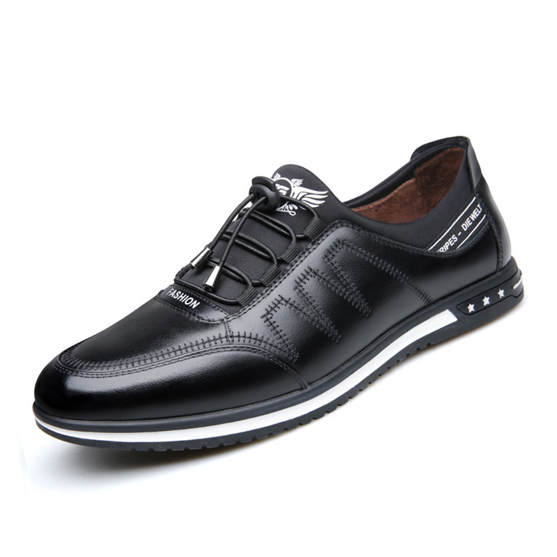 Image 2 - 2019 Fashion Cow Genuine Leather Shoes Men Casual Slip on Driving Runing Men Loafer Black Luxury Men's Shoes Sneakers Moccasins-in Men's Casual Shoes from Shoes