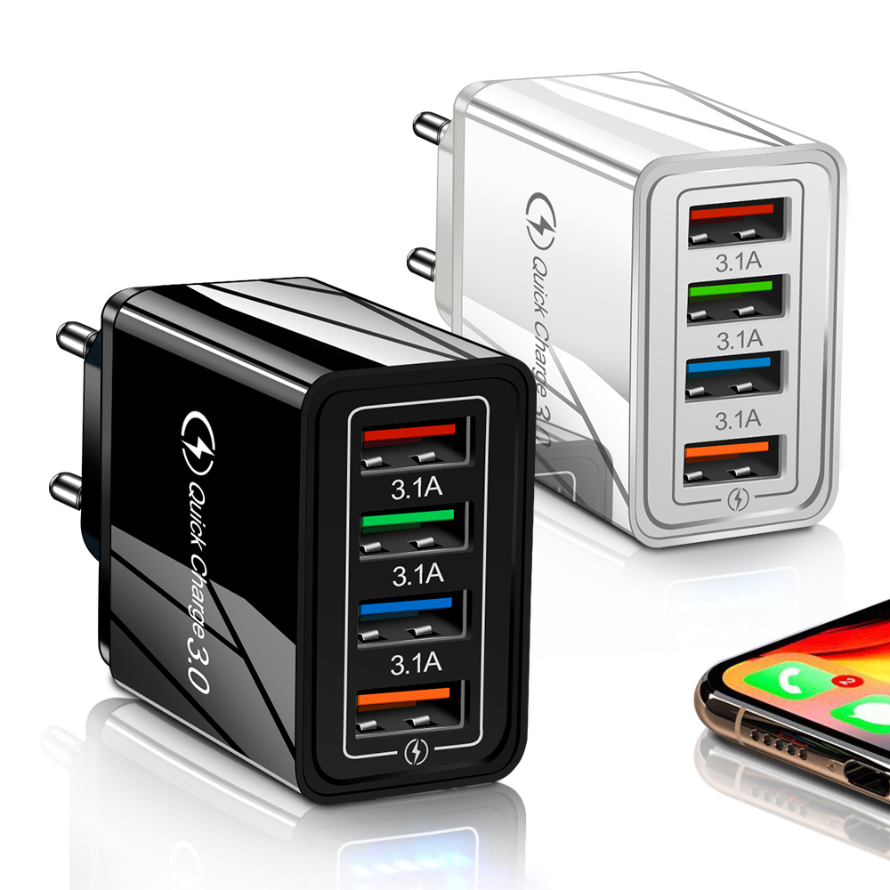 Carregador de celular usb 3.0 4.0, carregamento rápido, para tablet ip11 mate 20 mate 30 s10 adaptador, adaptador