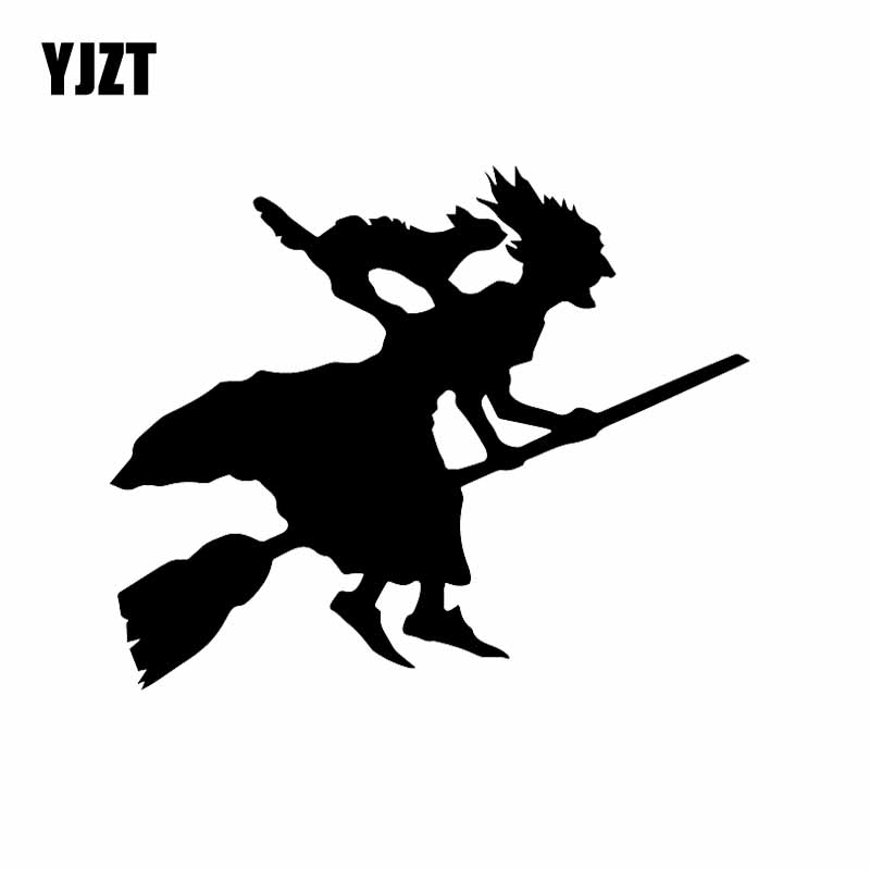 YJZT 15.6X12.8CM Car Sticker Witch And Cat On Broomstick Flying Funny Car Window Vinyl Decal Black/Silver C24-1779