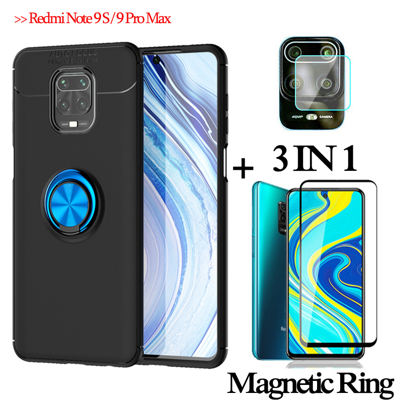 3-In-1 Glass+ Magnetic Silicone Case Xiaomi Redmi Note 9S Phone Case Redmi Note 9 Full Cover Redmi 9S Note9 S Magnetic Ring Case