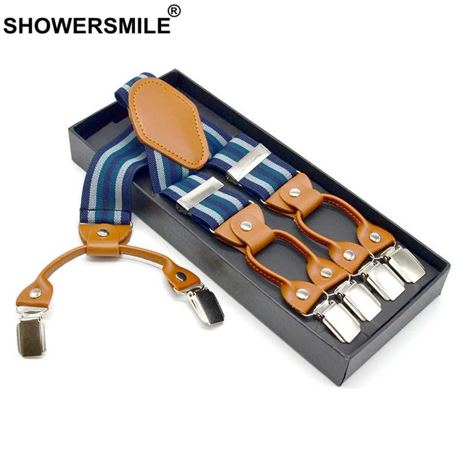 Showersmile Designer Bretels Mannen Bretels Voor Broek Gestreepte Shirt Blijft Business Bretels 6 Clips Broek Jarretel 120 Cm