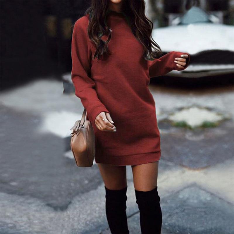Knitted Winter Dress Women Casual O-Neck Black Red Warm Elegantn Long Sleeve Sexy Knitted Sweater Dress Female Wholesale