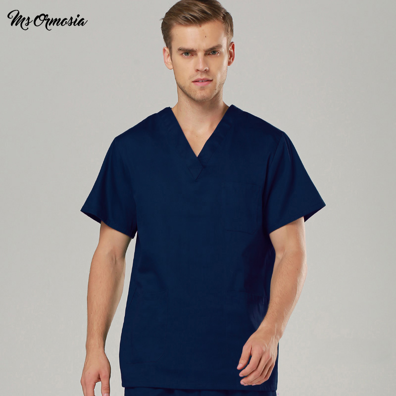 Doctor Hospital Dental Grown Women & Man Surgery Work Clothes Short Sleeves Nurse Uniform Solid Color Medical Scrubs A Tops