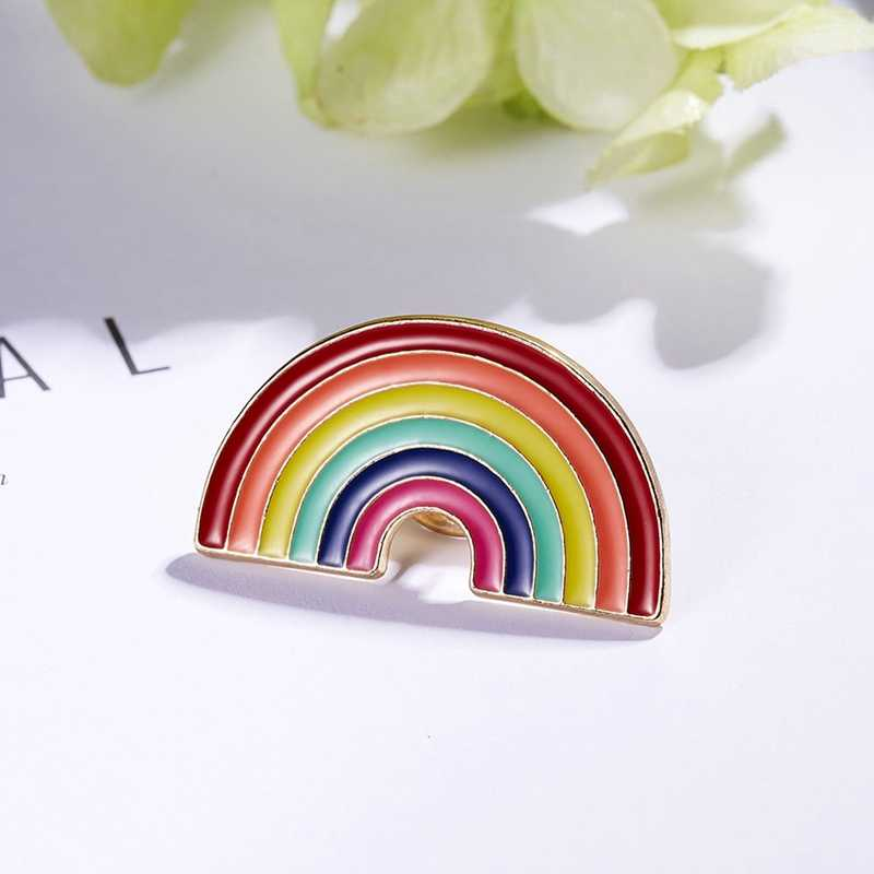 Diseño de dibujos animados Arco Iris alfileres broche creativo corazón dedo bandera Arco Iris Metal Pin solapa decoración para bolsas mochila regalo de joyería