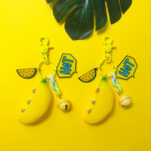 2019 New Super cute small yellow banana plush toy Key Chains chain doll keychain for women and Girl