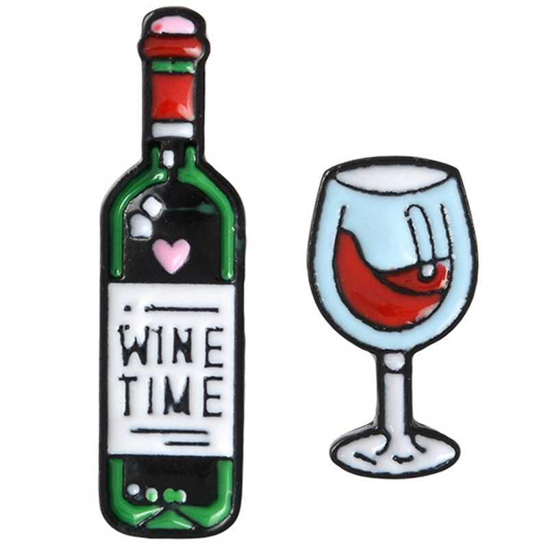ใหม่มินิน่ารักแว่นตาไวน์และไวน์คู่ Pins ขวดไวน์แดงถ้วยเข็มกลัดป้ายเคลือบฟันสำหรับคนรักที่ดีที่สุดเพื่อน Pins