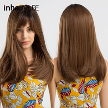 INHAIR CUBE Dark Roots Ombre Brown Synthetic Wig Long Straight Hair Wig
