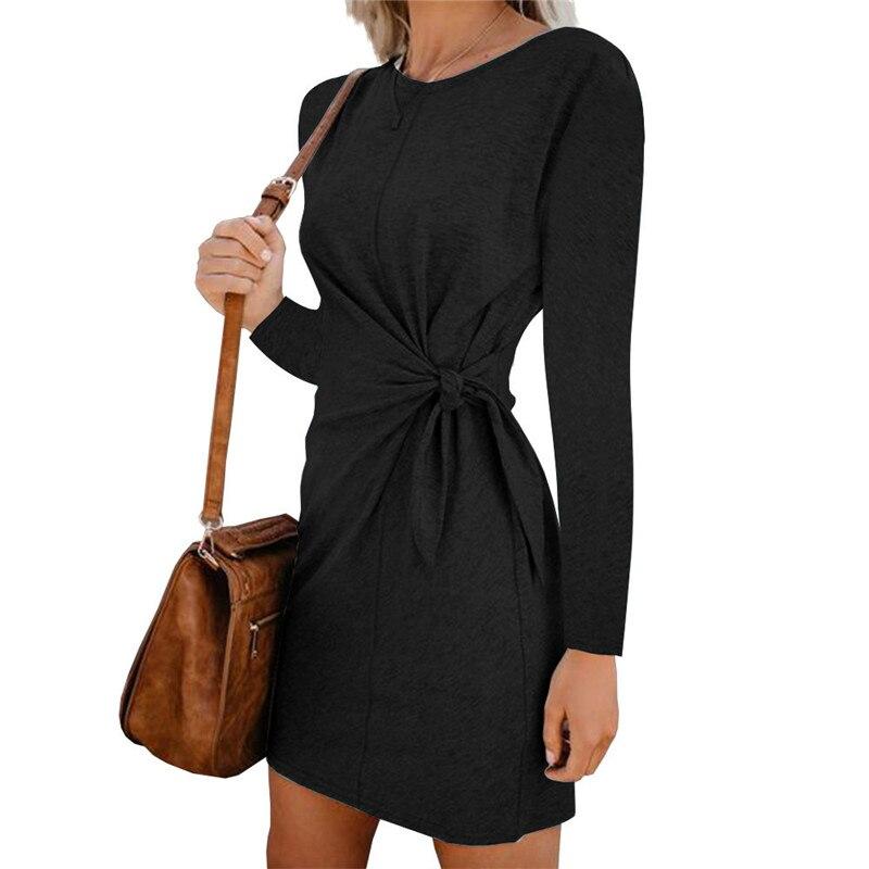 Autumn Summer Women Dress Long Short Sleeve Bodycon Dress Women Fashion Solid Black Vintage Office Mini Dress Ladies New DR1296 (5)