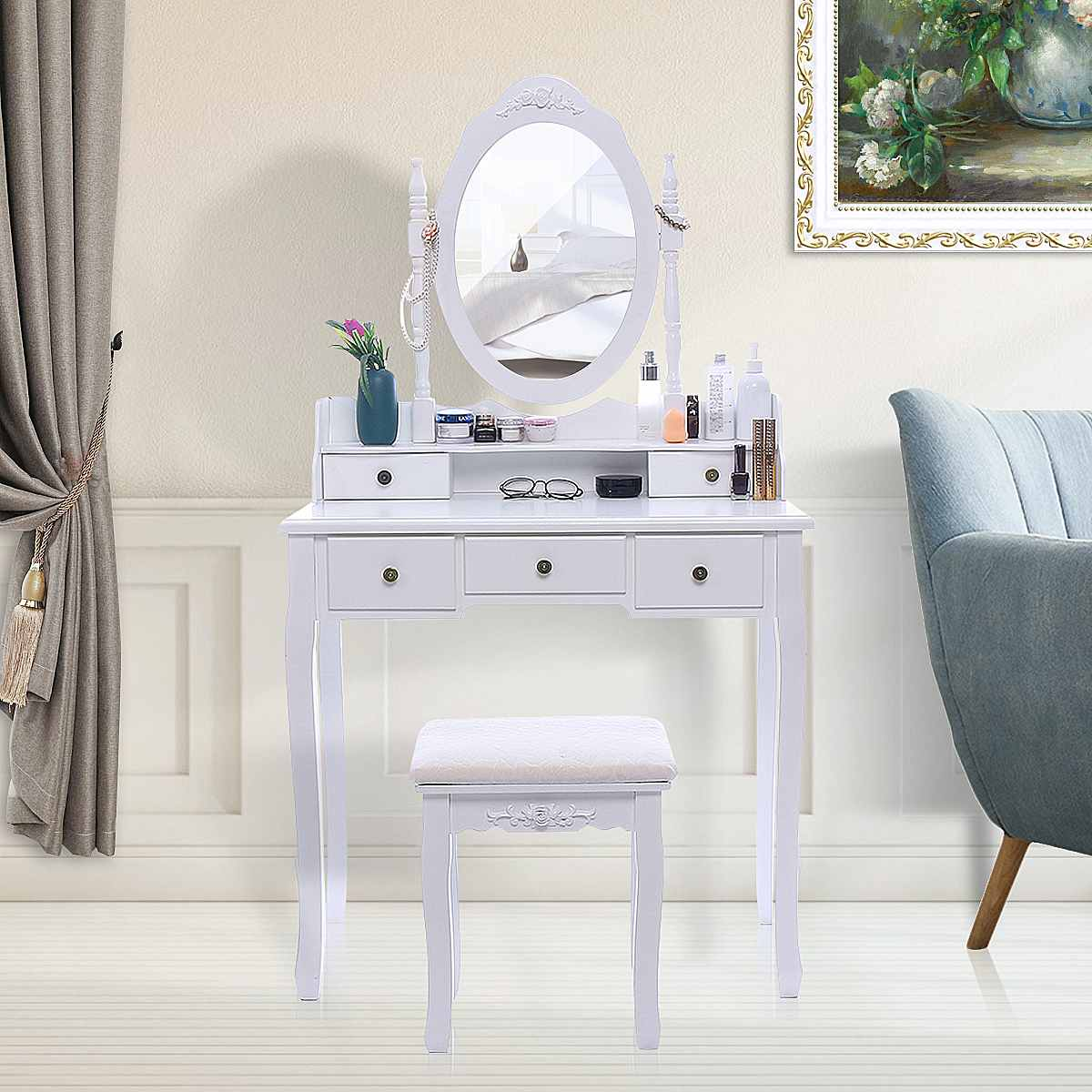 Bedroom Furniture Modern White Dresser Vanity Makeup Dressing Table Set Concise 5 Drawer Jewelry Organizer Mirror Dresser Chair