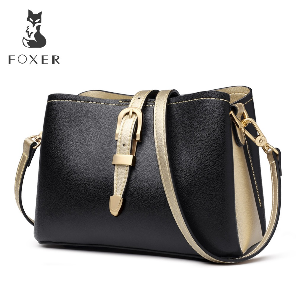 FOXER Brand 2019 Fashion Women Bucket Bag Lady Stylish Messenger Bags Female England Style Large Capacity Shoulder Bags-in Shoulder Bags from Luggage & Bags    1