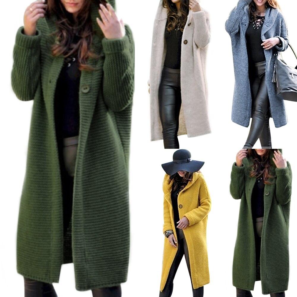 3XL grande taille cardigan femmes solide à capuche dames chandails 2019 automne chaud serré Long manteau hiver tricoté manteau tricots de style décontracté