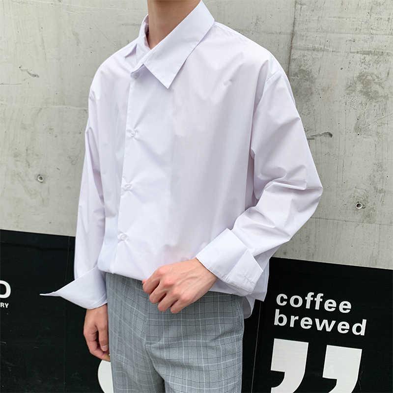 EWQ / men's wear 2020 봄 패션 새로운 비대칭 성격 옷깃 스트라이프 비즈니스 캐주얼 셔츠 all-match loose top 9Y1202