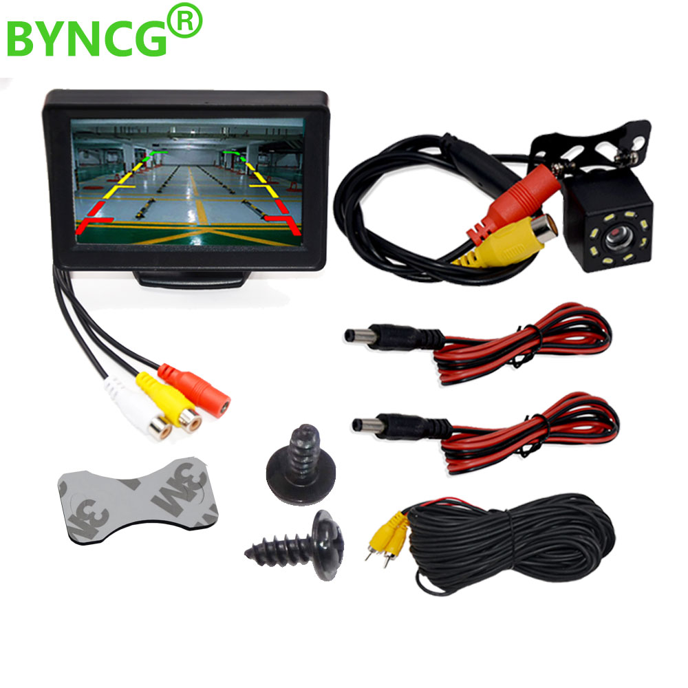 Car Rear View Camera Wide Degree 4 3inch TFT LCD Color Display Monitor   Waterproof Night Vision Reversing Backup 2In1 Parking Reve