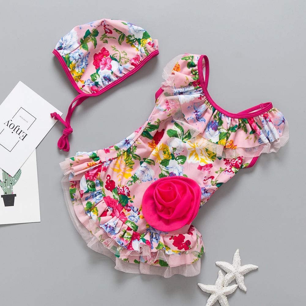 Cross Border Foreign Trade On Behalf Of Chinlon One-piece Swimsuit For Children Girls Sweet Flower Printed Infants Baby Swimwear