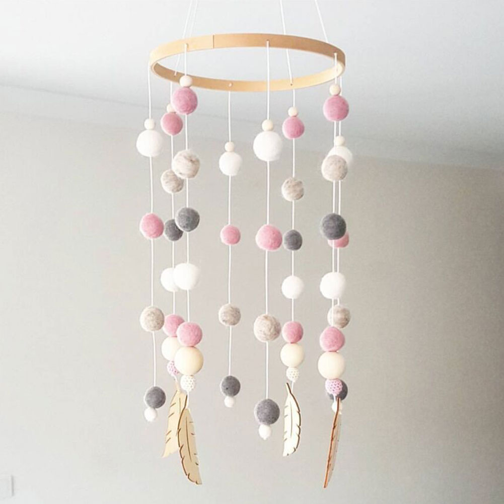 Photo Props Gift Handmade Kids Room Nursery Beautiful Craft Baby Wind Chimes Decoration Durable Wooden Felt Ball Bed Hanging
