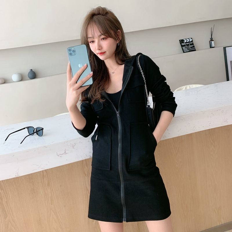 Women's casual hooded dress 2021 Korean version of the new long sleeved high waist slim slimming waist dress ins fashion trend 9