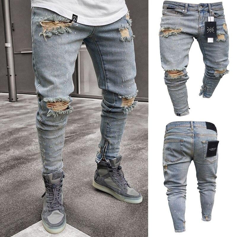Men's Clothing Pleated Jeans Fashionable Street Style Skinny Trousers Slim Nostalgic Elastic Hollow Pants