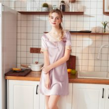 цены Summer women Solid color dress Sleepwear Sexy V-Neck Lace Short sleeve  silk skirt pajamas  Nightdress
