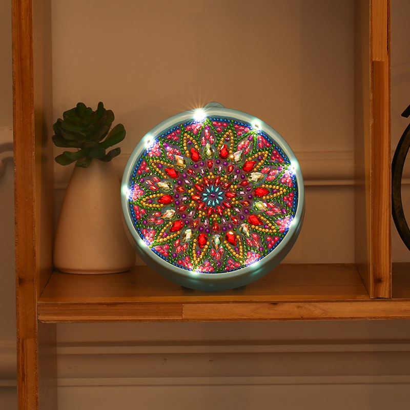 Round DIY Mandala LED Diamond Painting Light Cross Stitch Embroidery Full Drill Special Shaped Lamp Gift Night Lamp Home Decor