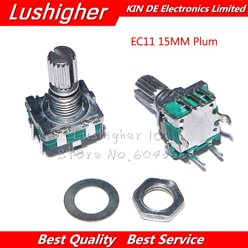 5 pièces EC11 15mm Plum Hle codeur rotatif commutateur de codage potentiomètre numérique avec interrupteur 5 broches bricolage