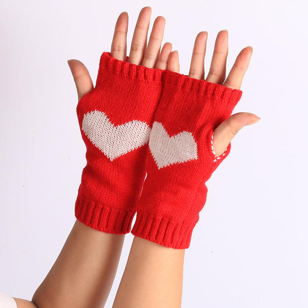 Women Heart Print Winter Goves Soft Fingerless Gloves Hand Warmer Knitted Warm Gloves Black White Red Grey Color Guantes Mujer