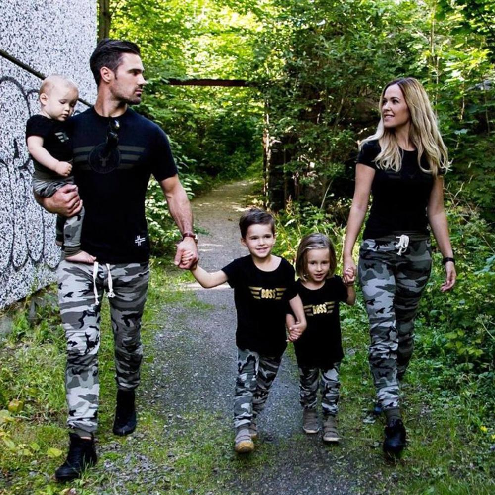 New Family Clothing Boss Short Sleeve Coat Camouflage Pants Parent-child 2 Piece Set Father Mom Brothers Sisters Couples