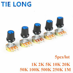 5 Sets WH148 1K 10K 20K 50K 100K 500K Ohm 15mm 3 Pin Linear Taper Rotary Potentiometer Resistor for Arduino with AG3 White cap