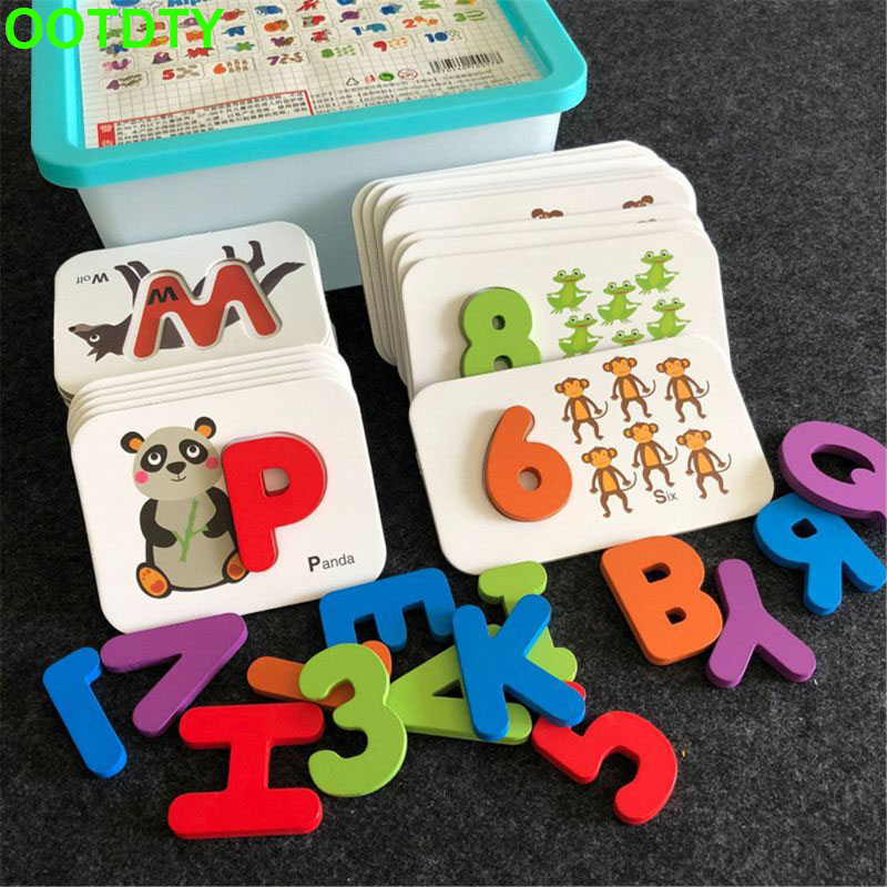 Alphabet And Number Flash Cards Wooden Jigsaw Puzzle Peg Board Set Preschool Educational Montessori Toys For Toddlers Kids Boys