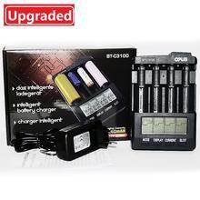 Mới Opus BT C3100 Pin Li ion Sạc NiMH Pin Sạc V2.2 Đa Năng 4 Khe Cắm Dao Màn Hình LCD Thông Minh Sạc Pin Sạc