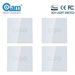 NEO COOLCAM 4 шт./лот Z-wave Plus 3 банды ЕС 868,4 МГц настенный выключатель света для домашней автоматизации настенный выключатель света сенсорный контр...