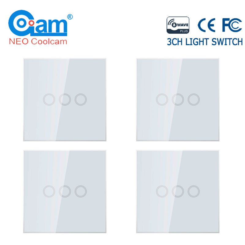 NEO COOLCAM 4PCS/lot Z-wave Plus 3 Gang EU 868.4MHZ Wall Light Switch Home Automation Wall Light Switch Touch Control