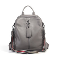 Nesitu High Quality Casual Fashion Black Red Coffee Grey Genuine Leather Women's Backpack for Girl Female Lady Shoulder Bag M007