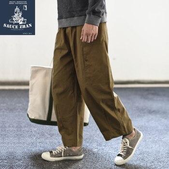 SauceZhan casual pants Wide Leg Pants Dyapiag Pants Vintage Cargo Pants Cargo Pants Men Mans Pants Cotton Loose Zipper Fly фото