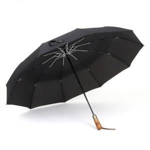 Image 5 - Parachaseビッグ傘男性ビジネススタイル115センチメートル自動傘雨二重層10 18k防風大型ゴルフ傘木製